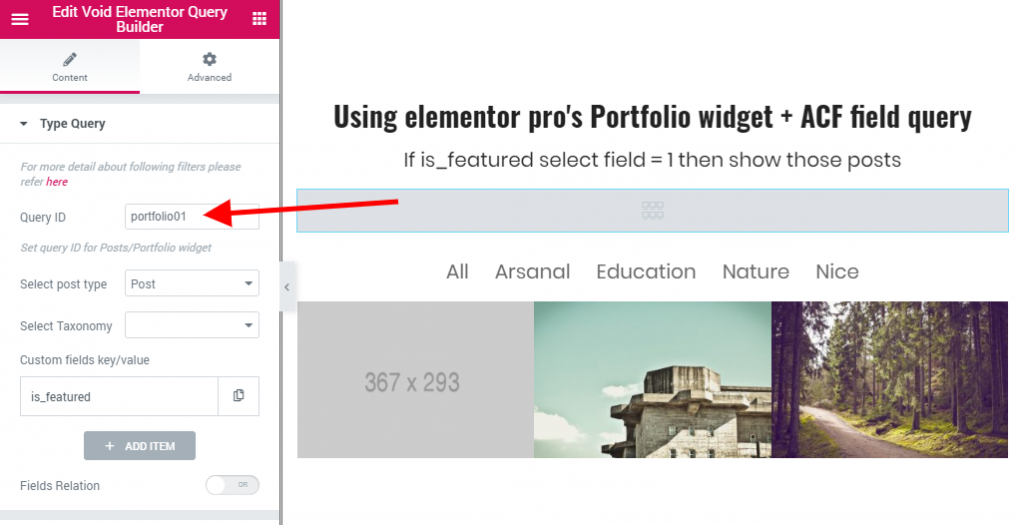 custom query filter elementor