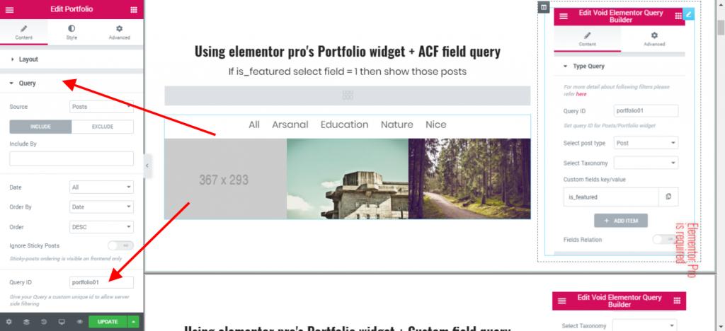 set query id elementor portfolio & posts widget