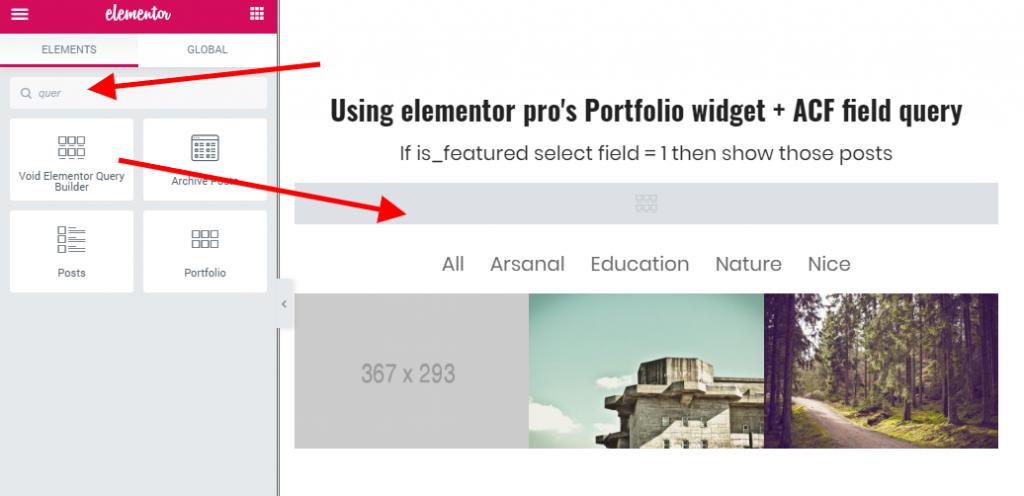 void Elementor query builder widget